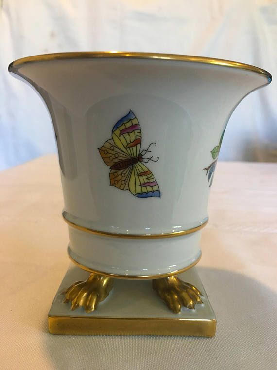 Vintage Herend Queen Victoria Gold Trim Claw Footed Urn Vase Small
