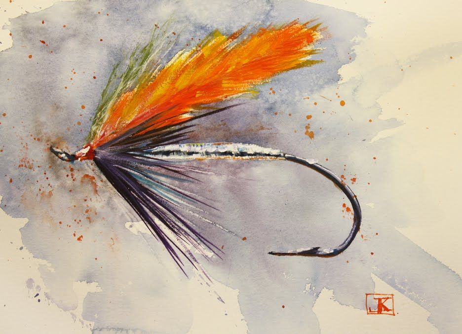 Drawing Flies 365 With Images Fly Fishing Art Watercolor Fish
