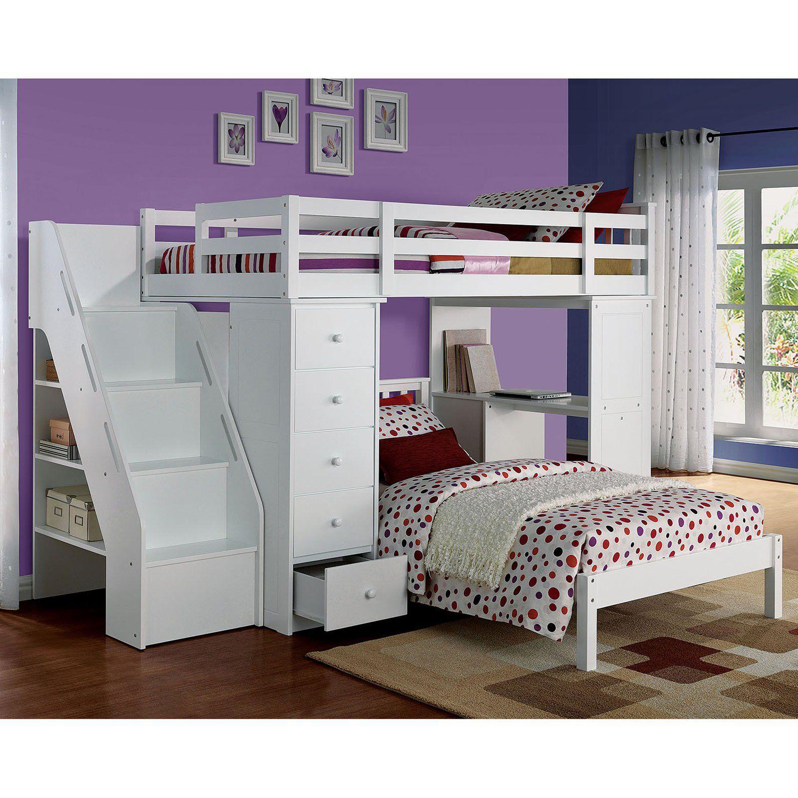 Acme Furniture Freya Loft Bed and Bookshelf Ladder White