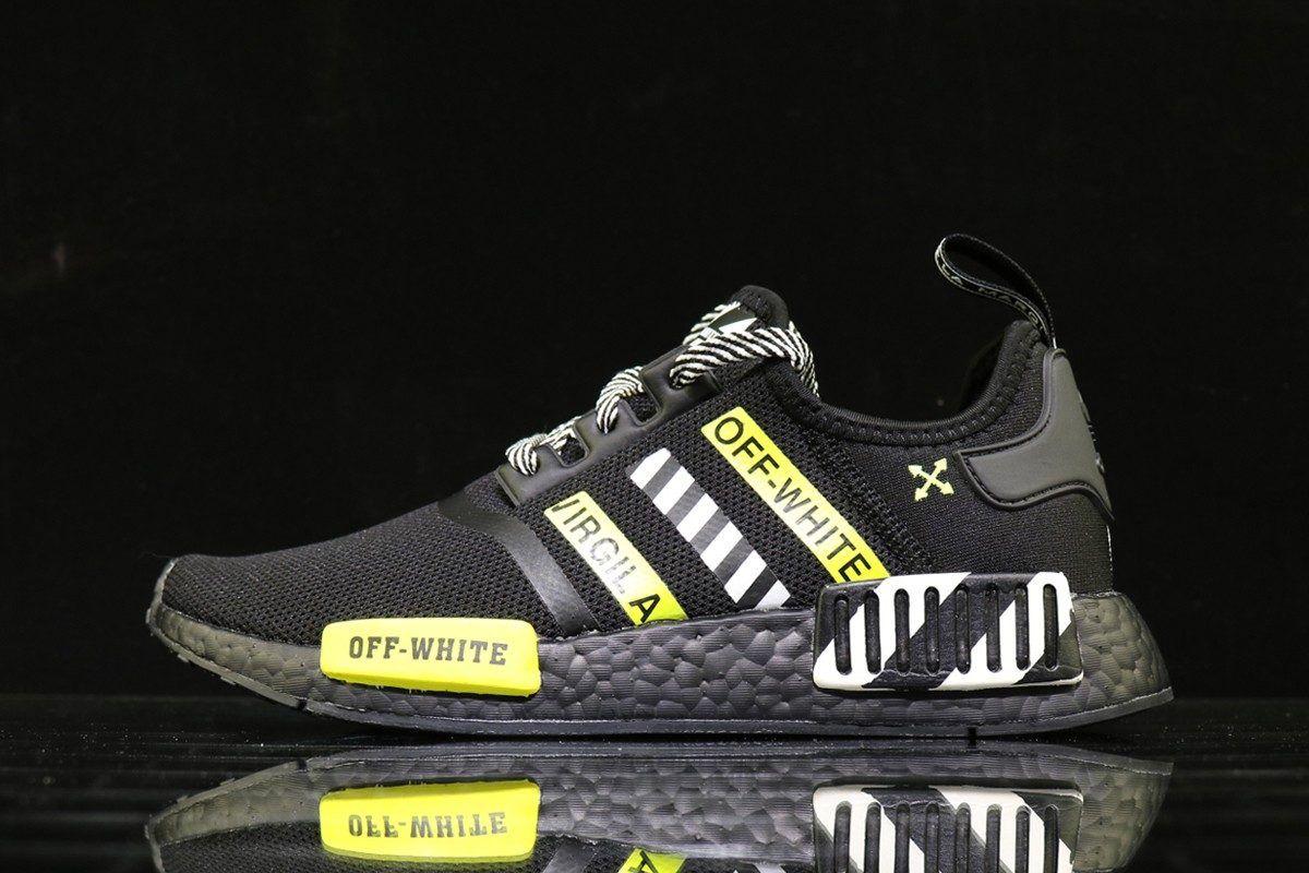 Cheap OffWhite x Adidas NMD R1 Black Yellow Adidas nmd
