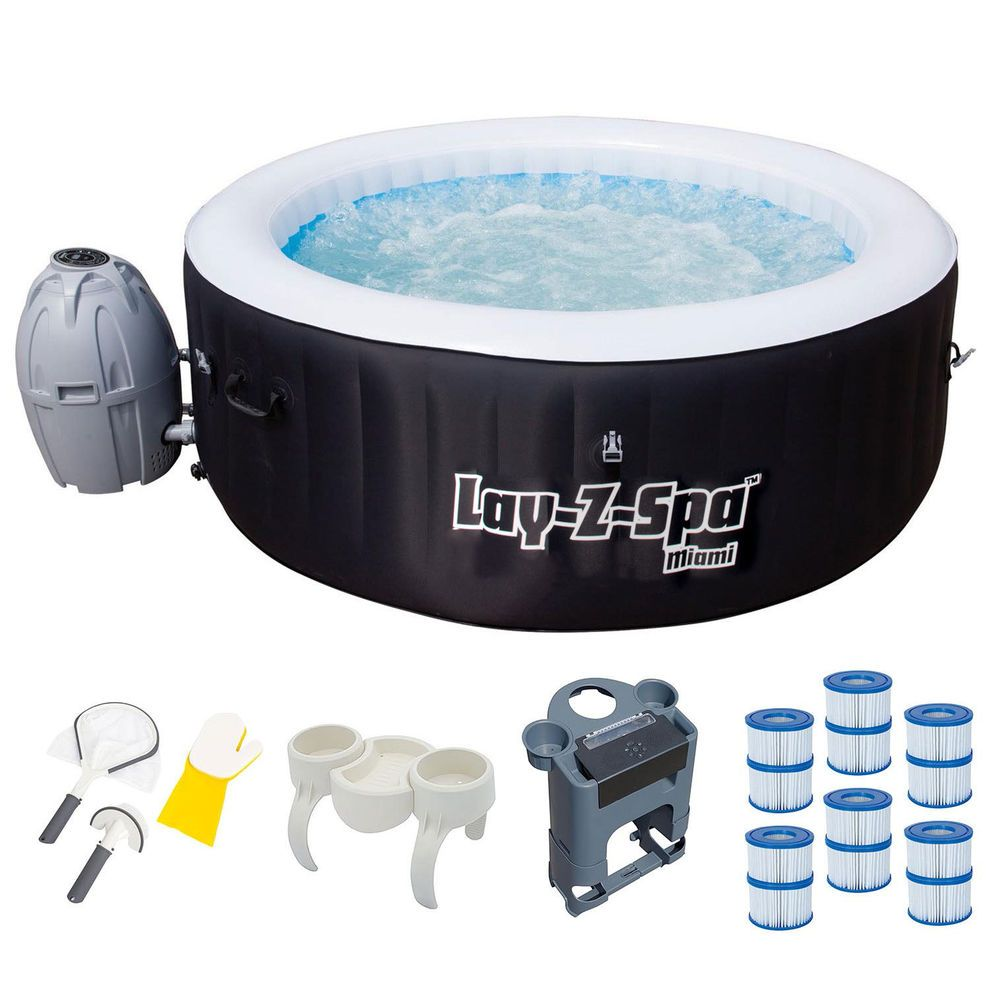 Bestway Inflatable Hot Tub + Entertainment Center + 6