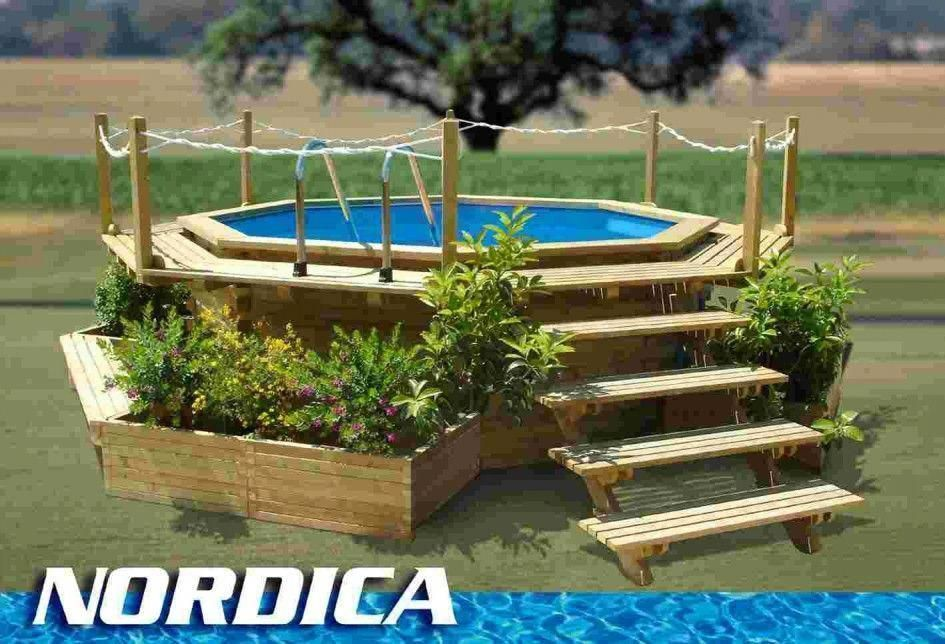 Above Ground Pool Landscape Designs Landscape Decoration With Round Above Ground Swimming In 2020 Above Ground Pool Landscaping Round Above Ground Pool Backyard Pool