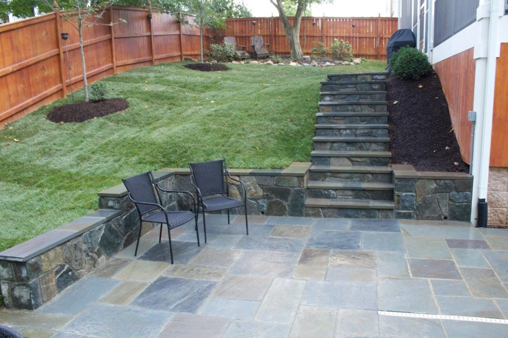 Backyard Tile Ideas Exterior Attractive Light Grey Stone Mosaic Tile Flooring Patio Patio Bluestone Patio Patio Stones