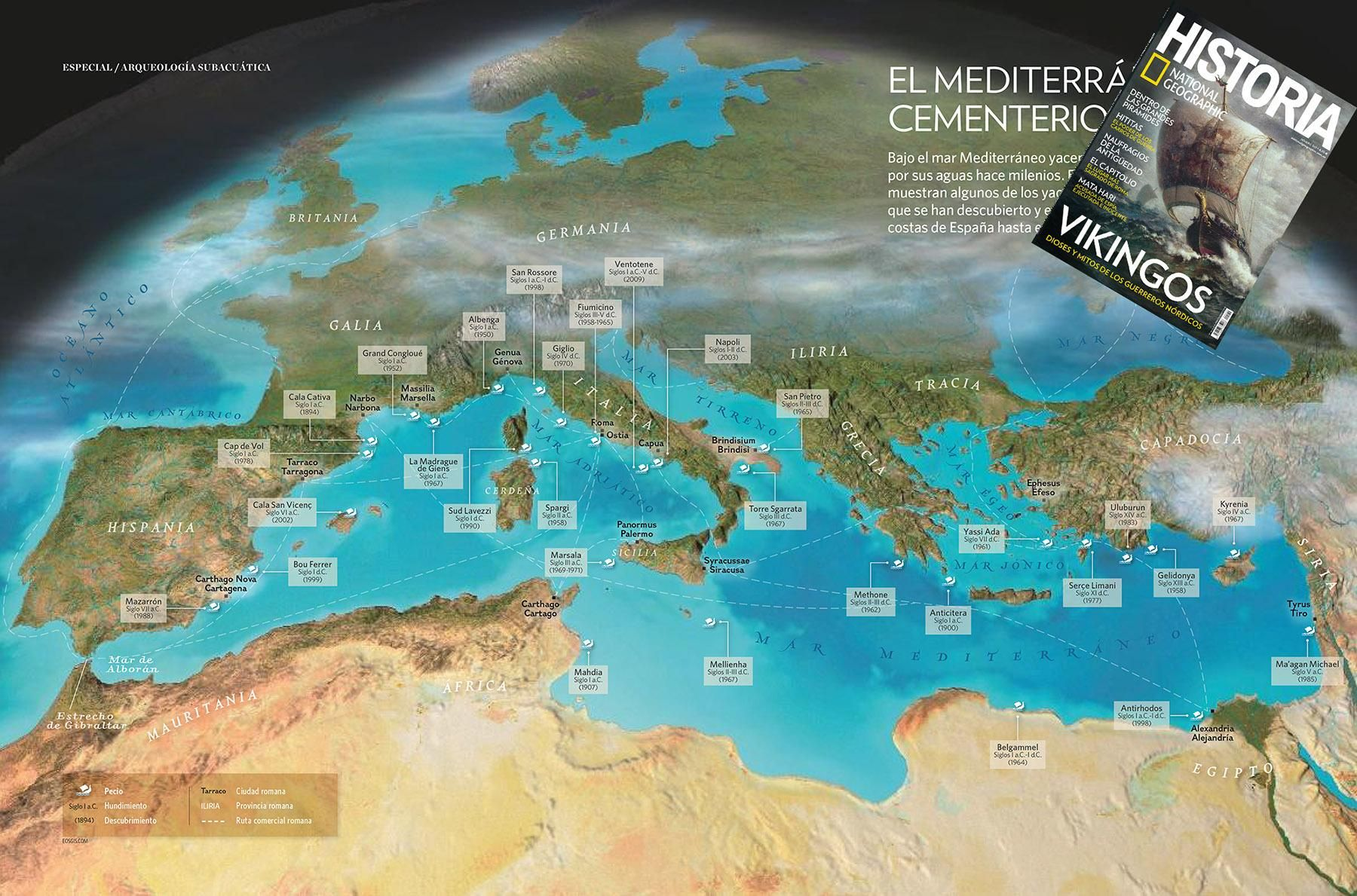 Ancient shipwrecks in the Mediterranean, map by EOSGIS for Natgeo ...