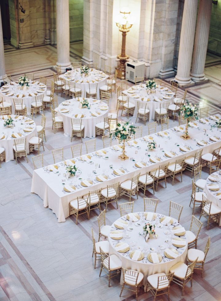 Mixed round and rectangle gold and white wedding reception Round table decoration ideas