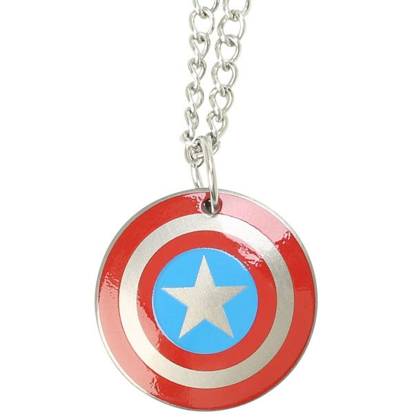 Marvel Captain America Shield Necklace | Hot Topic ($6.80) ❤ liked on Polyvore featuring jewelry, necklaces, stainless steel necklaces, stainless steel jewellery and stainless steel jewelry