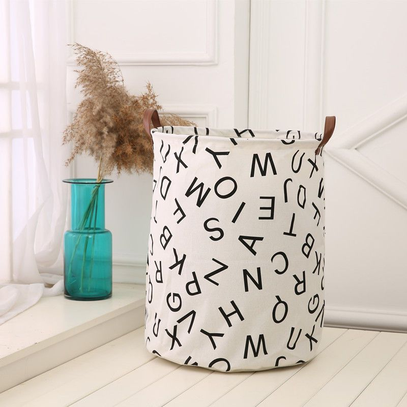 Baby Kids Toy Storage Bag Canvas Laundry Useful Basket With Leather Handbag