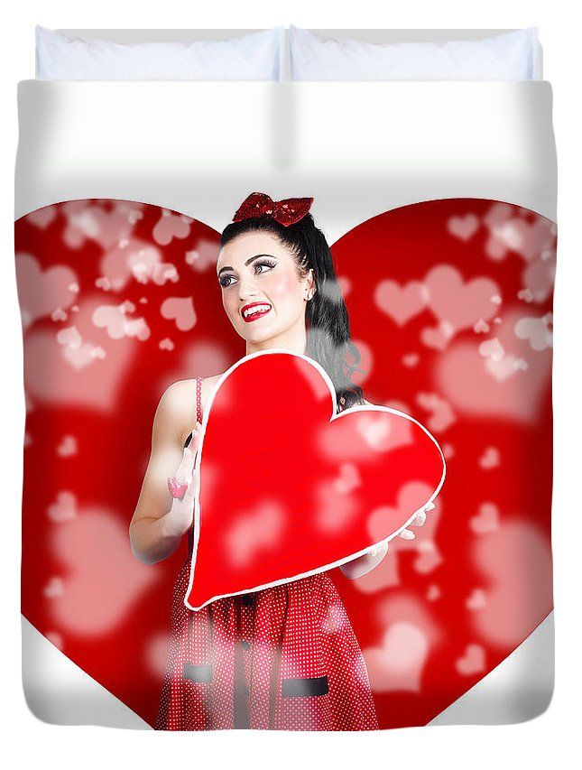 Heart Duvet Cover featuring the photograph Beautiful Woman Holding Blank Love Heart Sign by Ryan Jorgensen