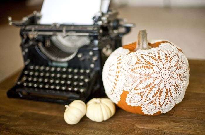 Liquid starch, a handful of doilies, and a little time are all you need to make this pretty pumpkin. Get the tutorial at Allyson Baker Design.    - CountryLiving.com