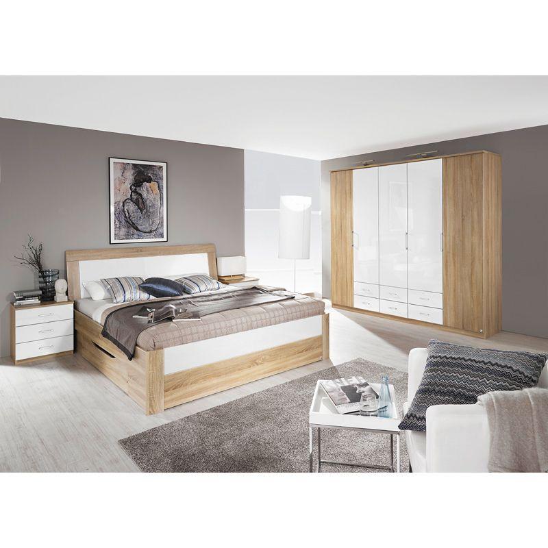 Schlafzimmer Set Rinoa221 Eiche Sonoma Nachbildung Hochglanz Weiss