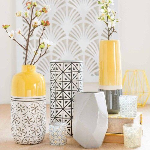 Vase Aus Steinzeug, Gelb, H 30 Cm, KILALI