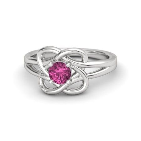 Round Pink Sapphire Sterling Silver Ring - Knotted Vines Ring | Gemvara