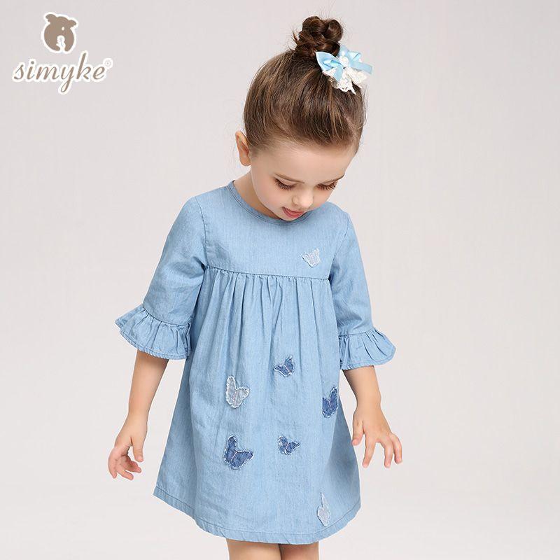 31e9b3a1dbd Pas cher Filles Robes Jeans Bleu Robe Pour Petite Fille Printemps 2018  Marque Printemps Moitié Manches Vêtements Enfants Enfants Vêtements W8082