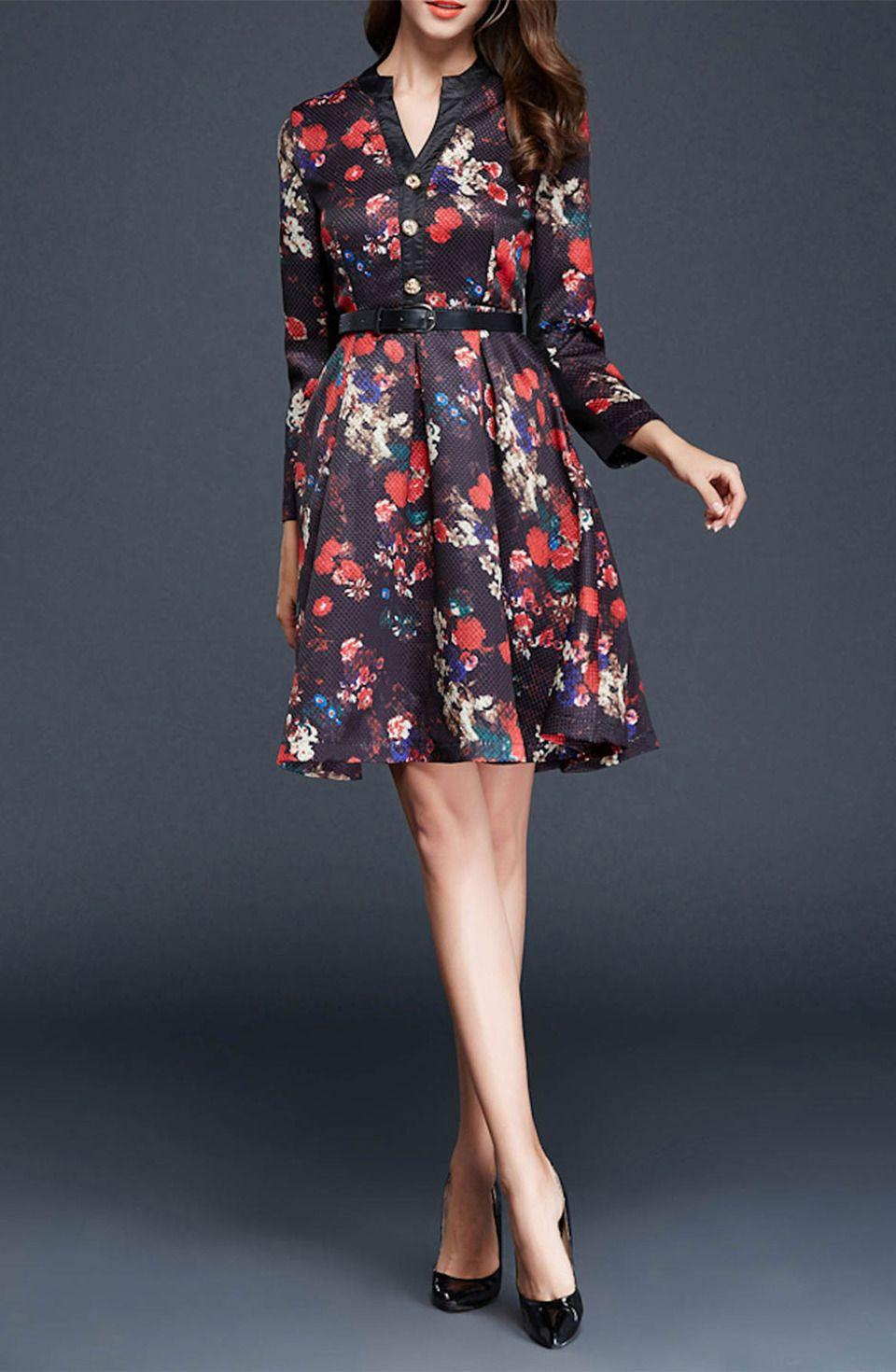 Rudan - Floral Print Placket Dress in Black