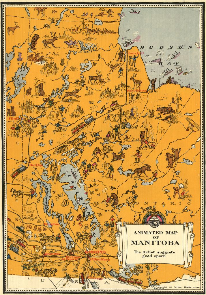 vintage animated map of manitoba canada 1929 vintage 1920s