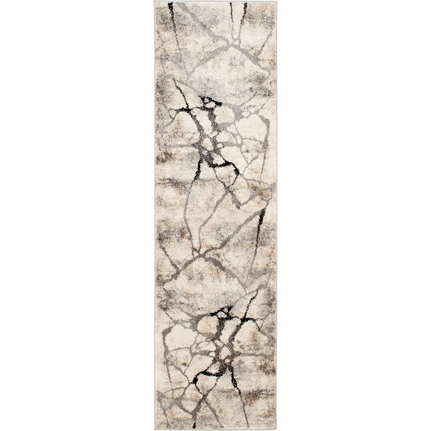 Grey Beige Crackle 2x7 Rug