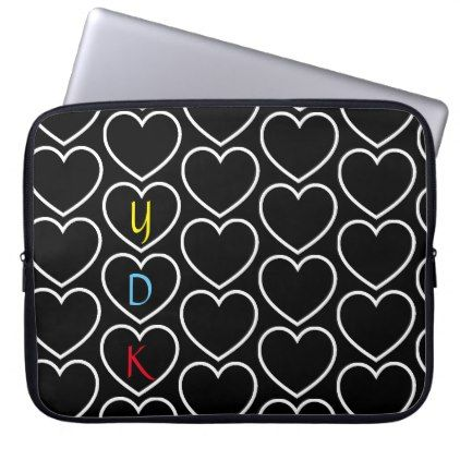 Heart Pattern Monogram Laptop Sleeve  $31.65  by HeartsAhoy  - cyo customize personalize unique diy