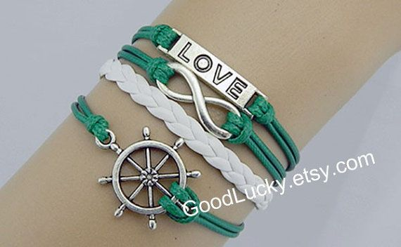 Whiteemeraldgreen leather Braceletrudder by charmjewelrybracelet, $9.99  http://www.etsy.com/listing/158477296/whiteemerald-green-leather?utm_campaign=Share&utm_medium=PageTools&utm_source=Pinterest
