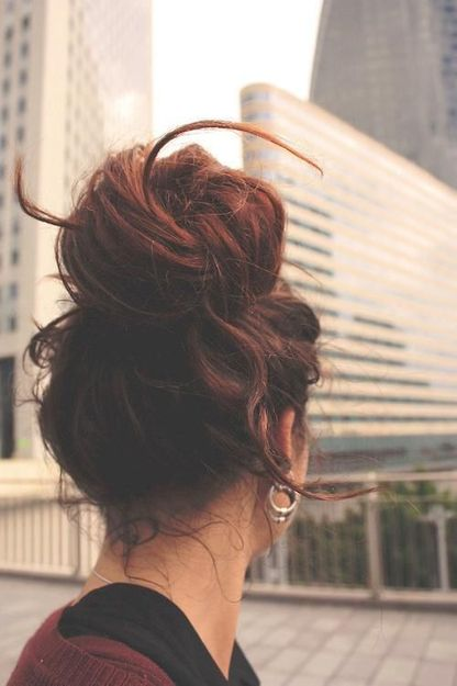 Topknot chic! @Amanda Merryman so first day you'd wash and wear your hair normal. day 2 would be the texture (curled look) day 3 would be top knot/bun