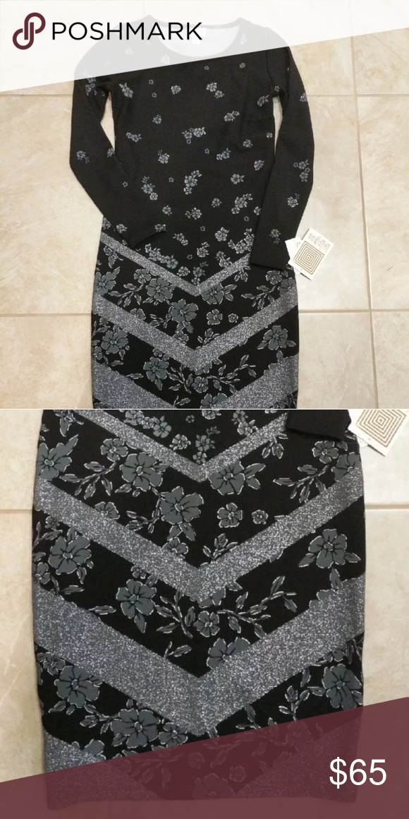 a3f86b19000 Lularoe Elegant Debbie NWT limited edition black background Debbie with  silver flowers and a flattering chevron print. Looks exactly the same on  the back.