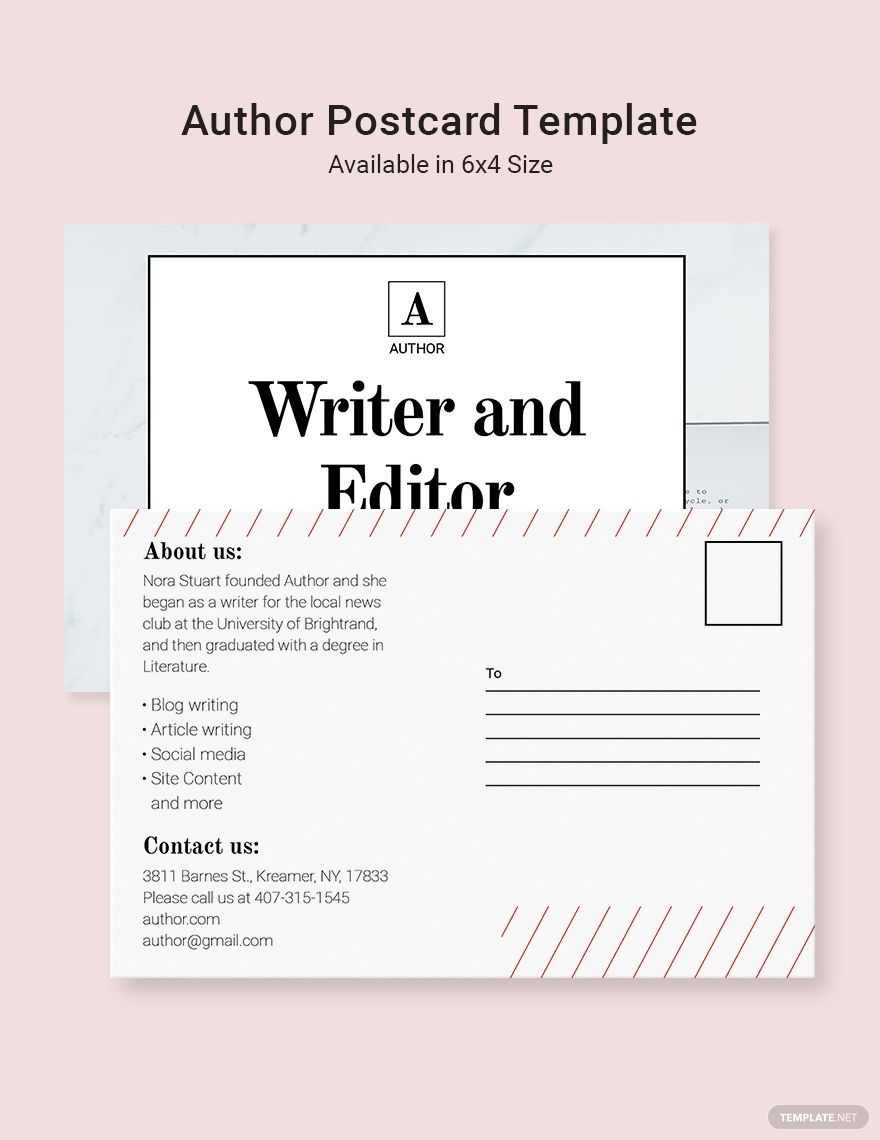 Author Postcard Template Word Doc Psd Indesign Apple Mac Pages Illustrator Publisher Postcard Template Templates Postcard