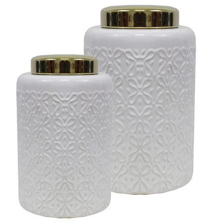 Showcasing an embossed geometric motif, these chic ceramic jars are perfect for stowing makeup or office essentials in style.  Produ...