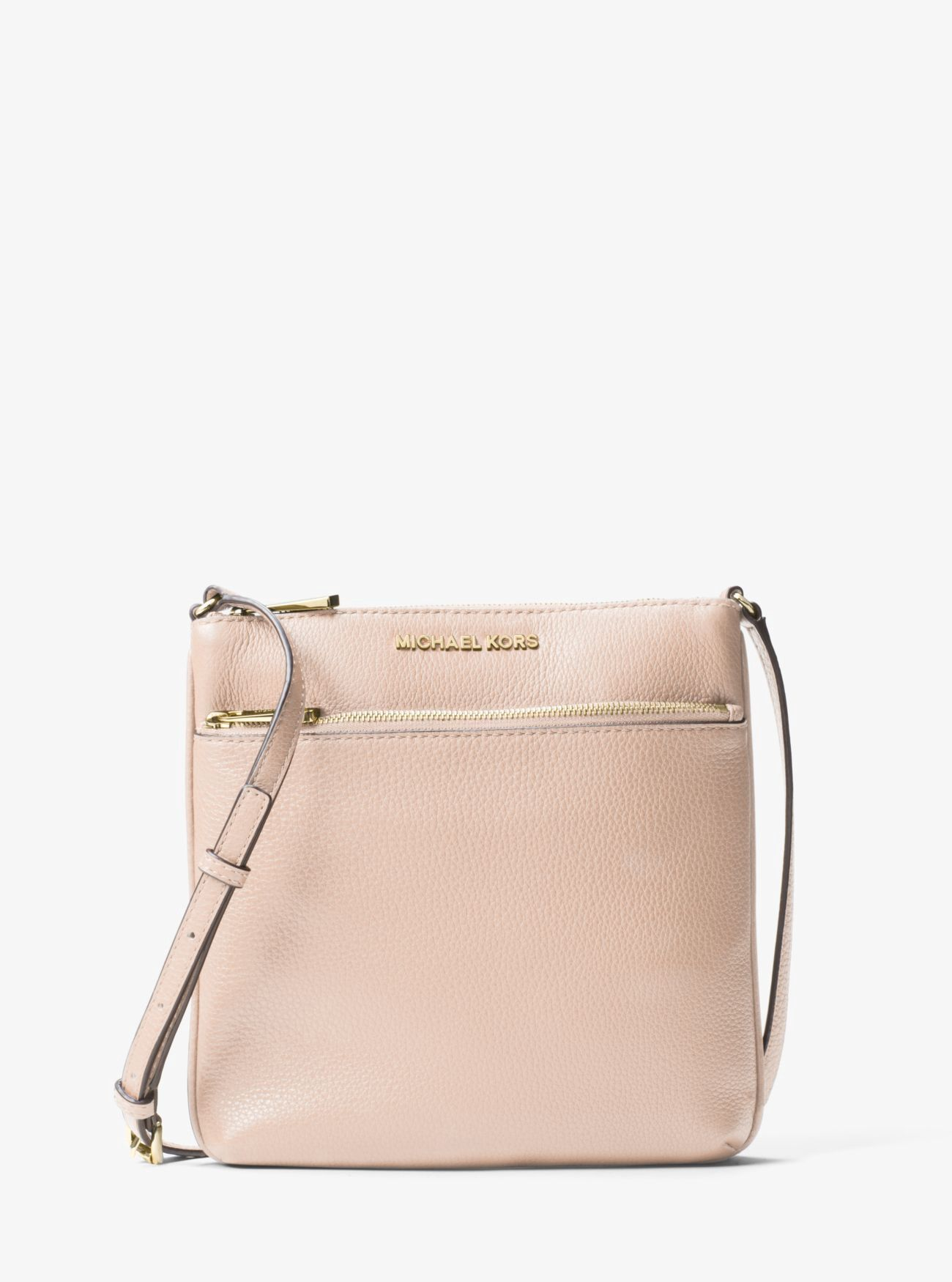 6d33294b09bcd Michael Kors Riley Small Pebbled-Leather Crossbody - Soft Pink ...