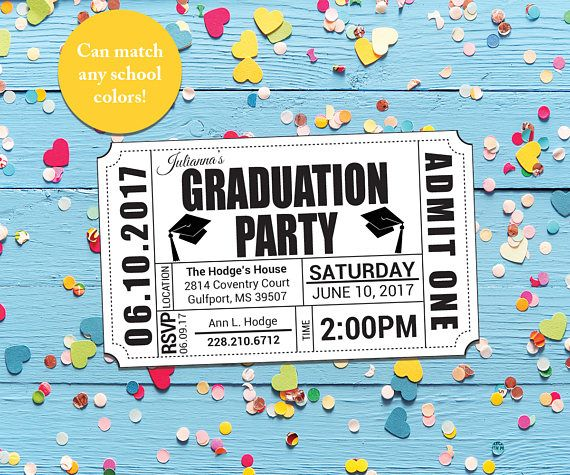graduation party invitation ticket printable invitations