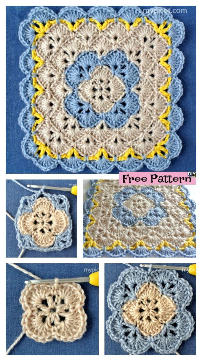 Crochet Shell Square Blanket - Free Pattern | Häkeln, Stricken und ...