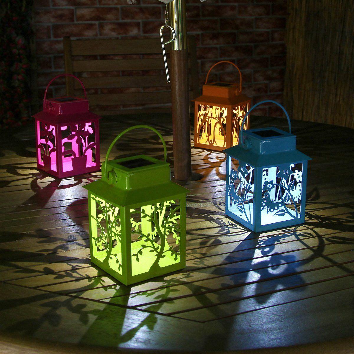 4 Coloured Solar Powered Metal Outdoor Lantern Lights: Amazon.co.uk ...