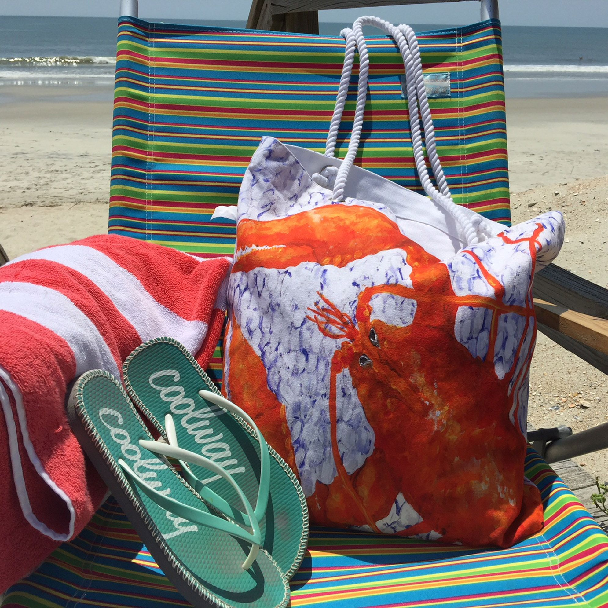 Lobster tote is great as beach bag or carry all etsy