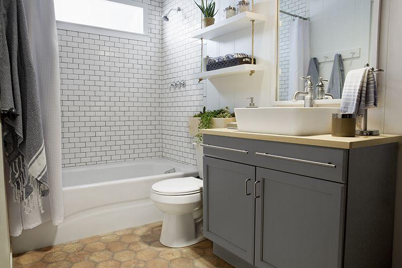 A Builder Grade Bathroom Transformation With Lowe S Bathroom Vanity Makeover Amber Interiors Painted Vanity