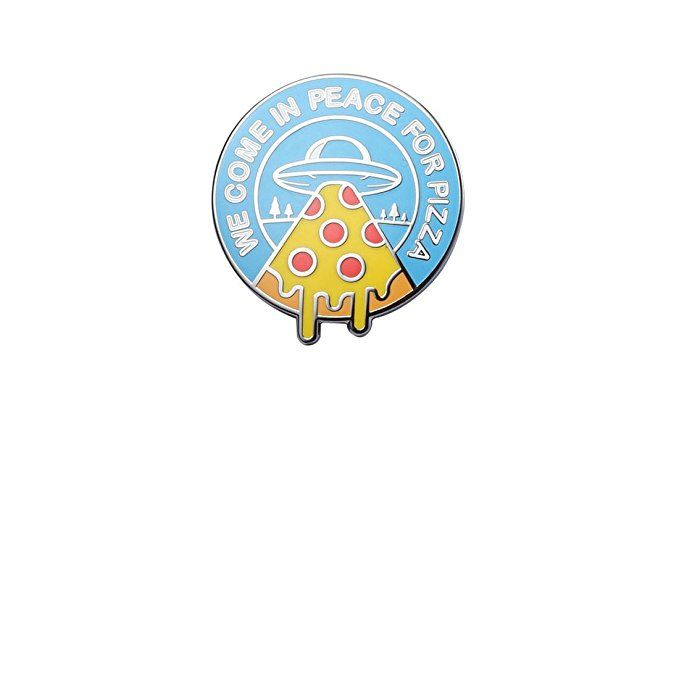 Last Valentine We Come In Peace For Pizza Enamel Pin Nickel Plated Lapel Pin