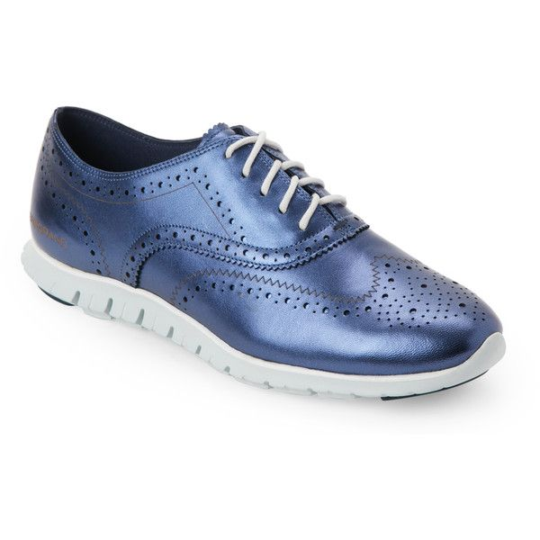 Cole Haan Blazer Blue ZeroGrand Wingtip Oxfords featuring polyvore, women's  fashion, shoes, oxfords