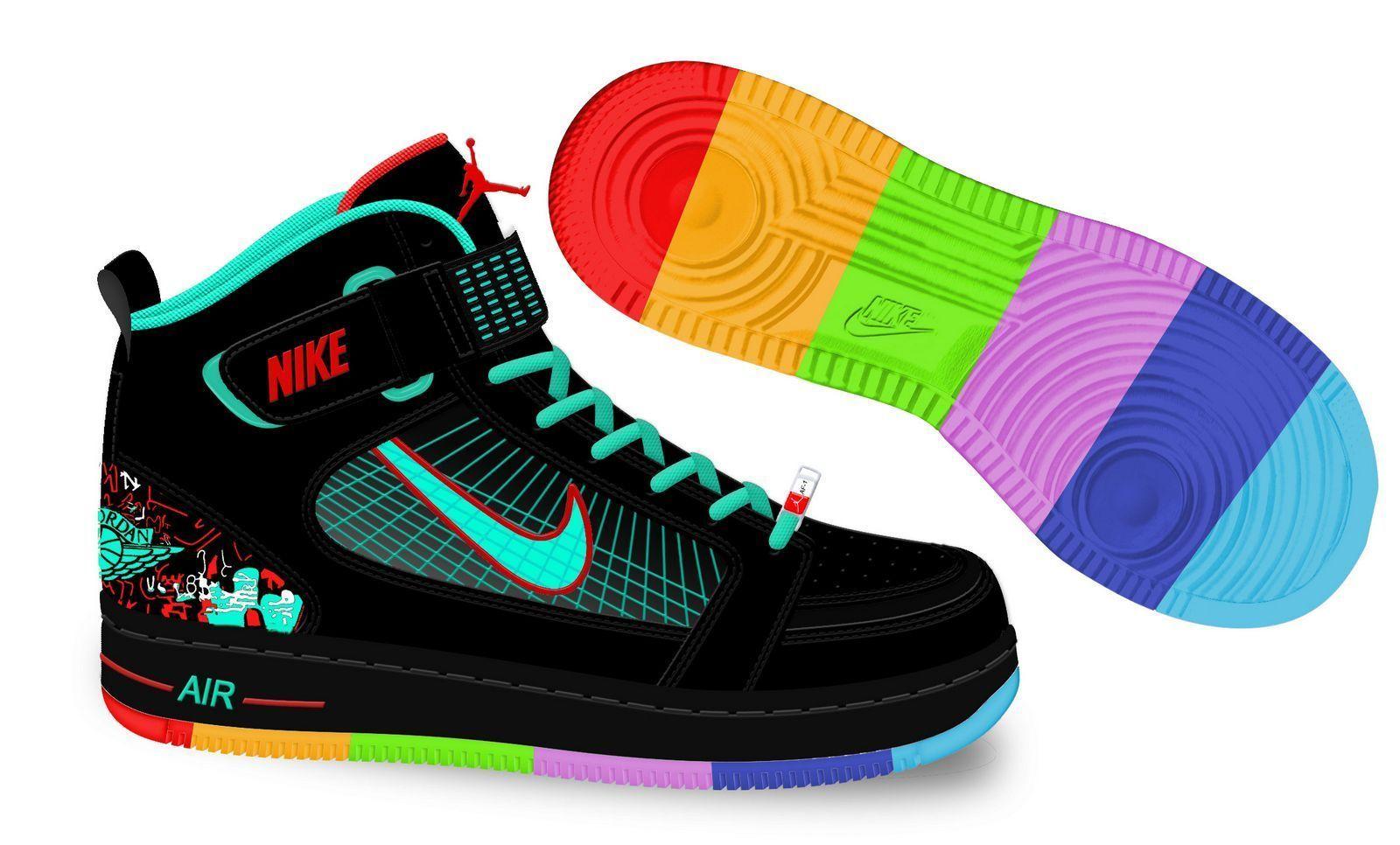 Nike Air Jordan 6 Rings Balck Green Rainbow Colors Jordan Sport ...