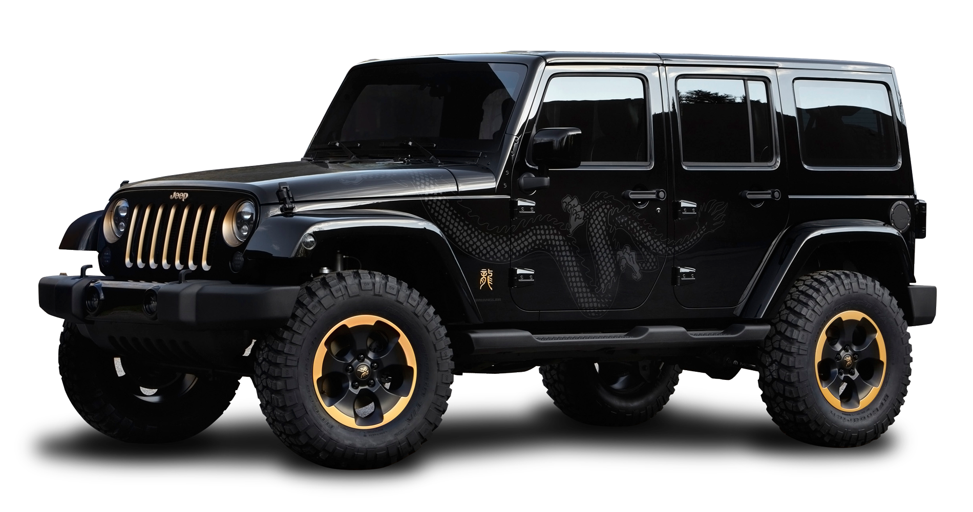 Download Black Jeep Wrangler Dragon Edition Car PNG Image