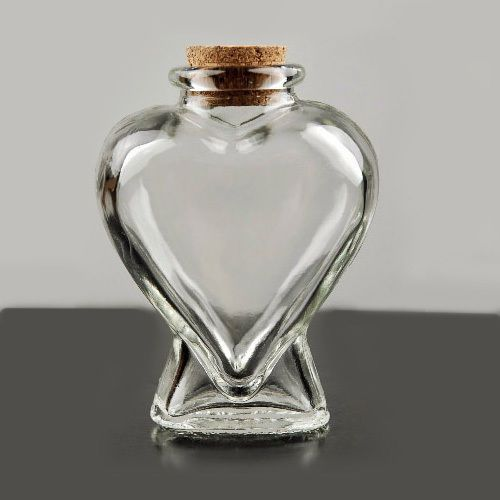 Heart Shaped Clear Glass Bottle Jar With Cork 4 Tall New