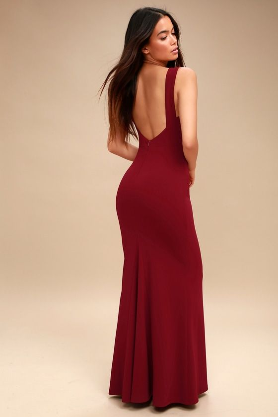 24ce63da088 Chic Wine Red Maxi Dress - Backless Dress - Mermaid Dress