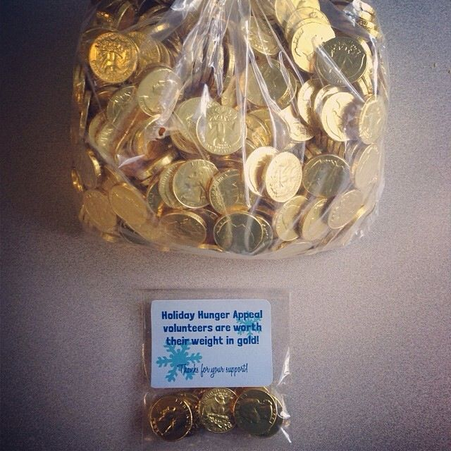 Volunteer gift. Gold chocolate medallions. Thank you gift ...