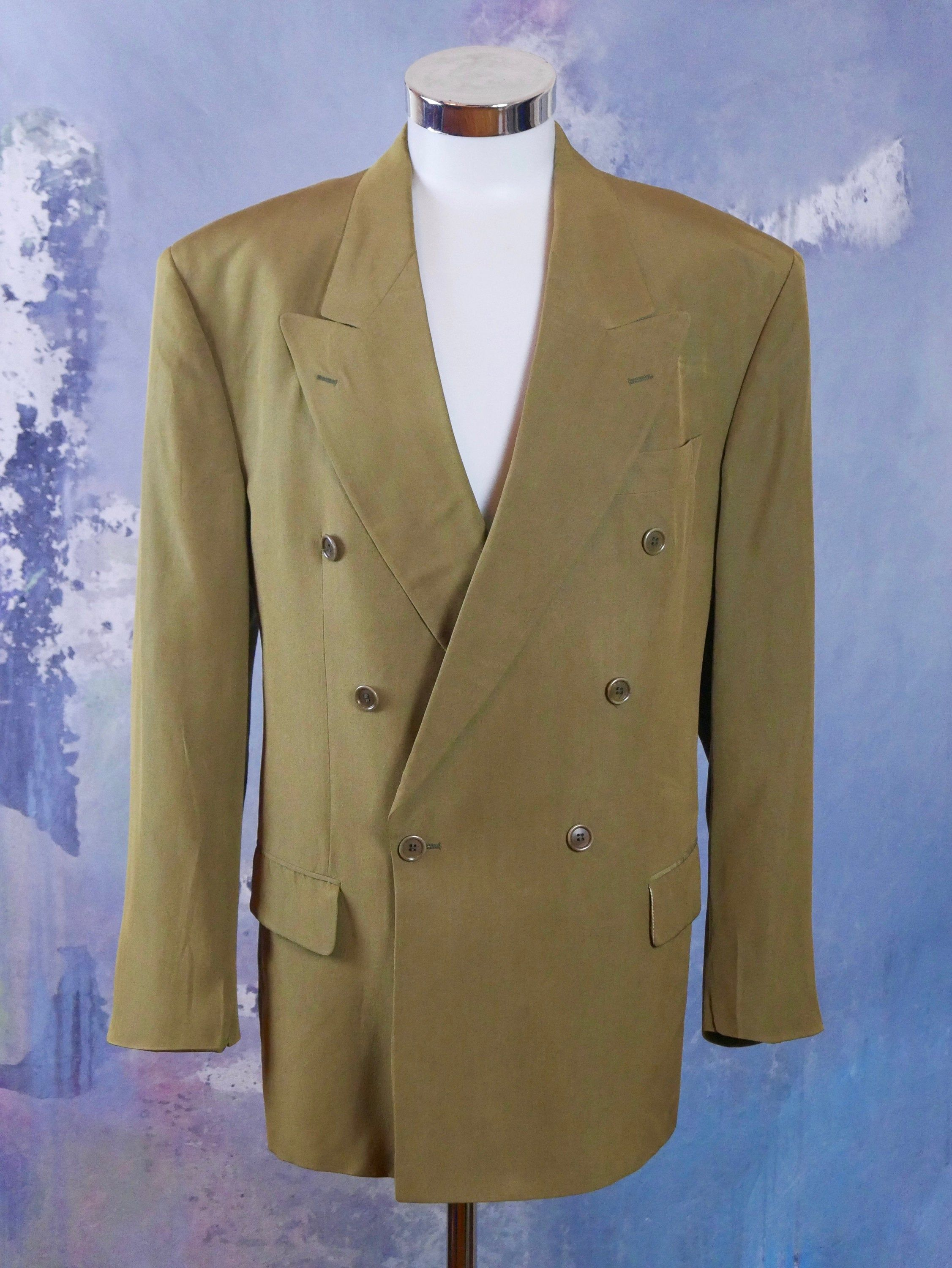Sage Green Double Breasted Blazer German Vintage Hugo Boss Etsy Double Breasted Blazer Double Breasted Double Breasted Jacket