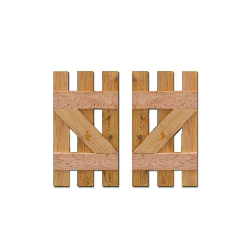 Design Craft Millworks 12 In X 31 In Baton Spaced Z Board And Batten Shutters Natural Cedar Pair Shutter Designs Board Batten Shutters Design Crafts
