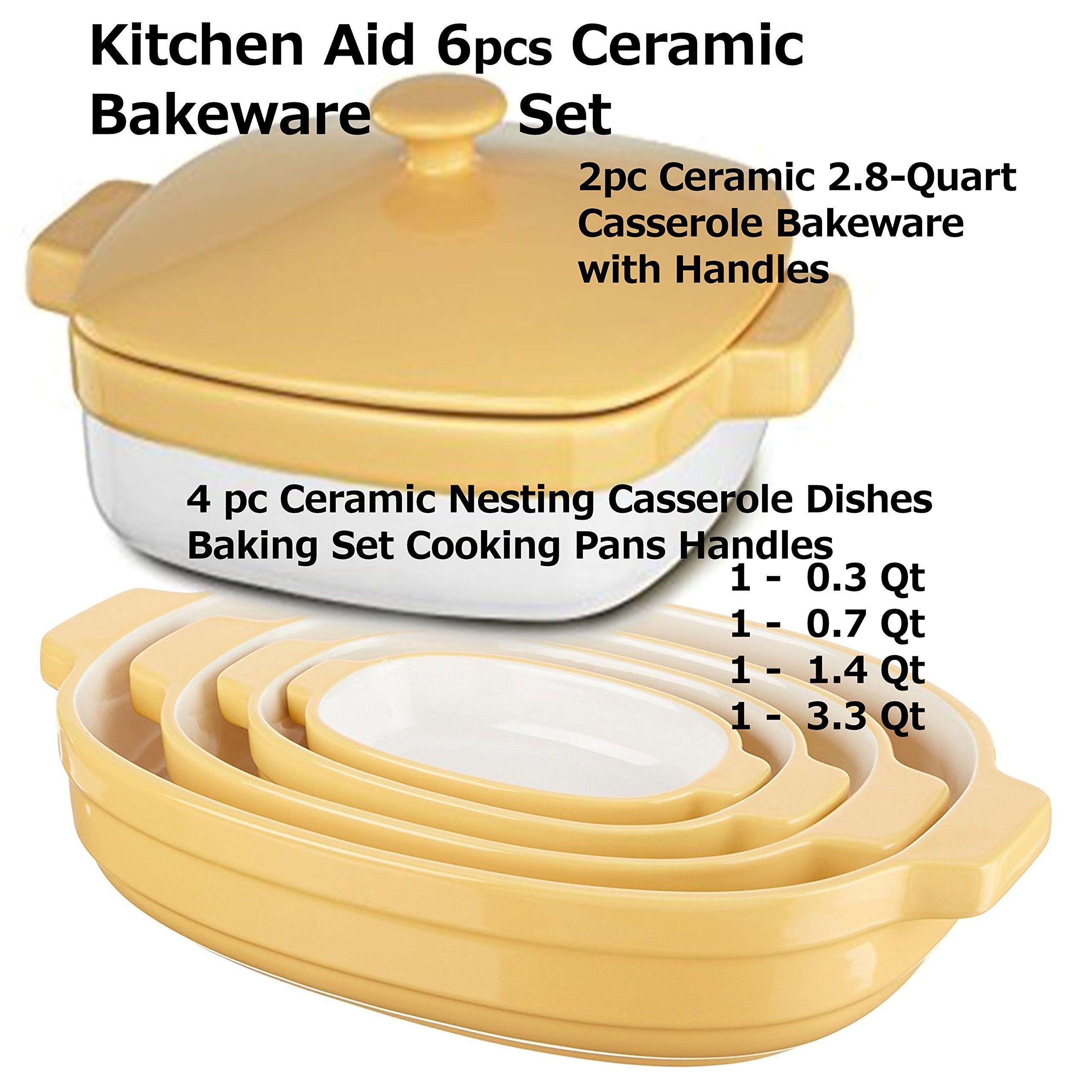 Kitchenaid 4pc Buttercup Ceramic Nesting Casserole Dishes Baking