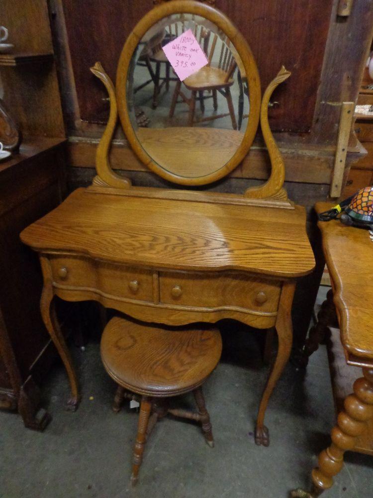 Victorian Oak Light Wood Make Up Vanity Dresser With Mirror
