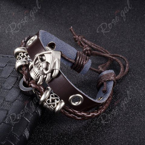 Faux Leather Woven Devil Skull Bracelet - BROWN