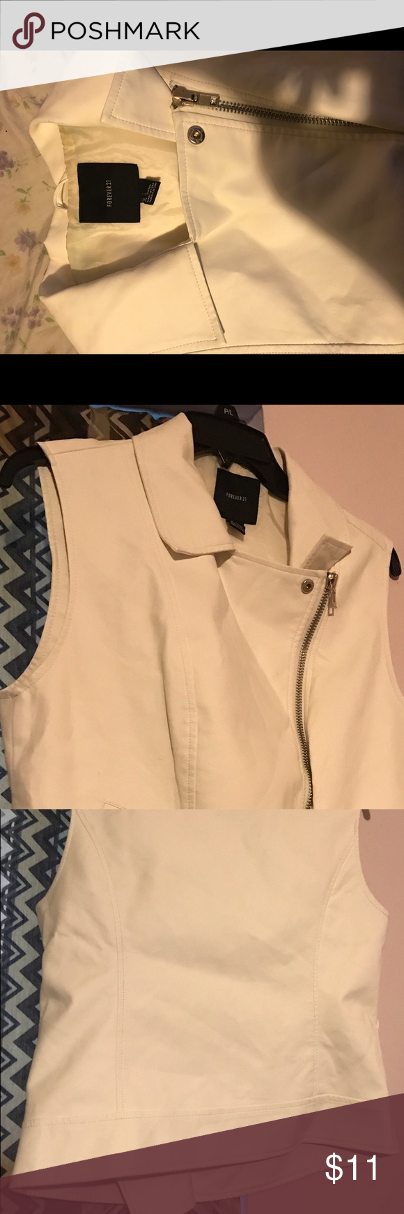White/cream vest Cute and fashionable white/cream jacket vest that you can pair with jeans and a cute top or on top of a dress. Has a stain on the neck part where inner tag is. Worn twice but in ok condition. Selling for $11 but will accept offers but no low balling. Jackets & Coats Vests