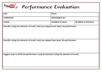 Music Listening Performance Evaluation And Analysis Sheets