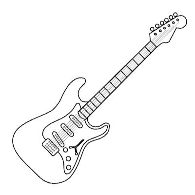 rock and roll coloring pages | Electric Guitar Coloring Page Music ...