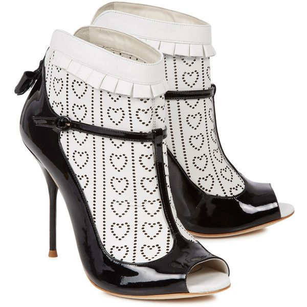 Sophia Webster Sadie monochrome laser-cut leather ankle boots ($460) ❤ liked on Polyvore featuring shoes, boots, ankle booties, heels, sophia webster, leather ankle boots, open toe bootie, high heel ankle booties, leather booties and perforated booties