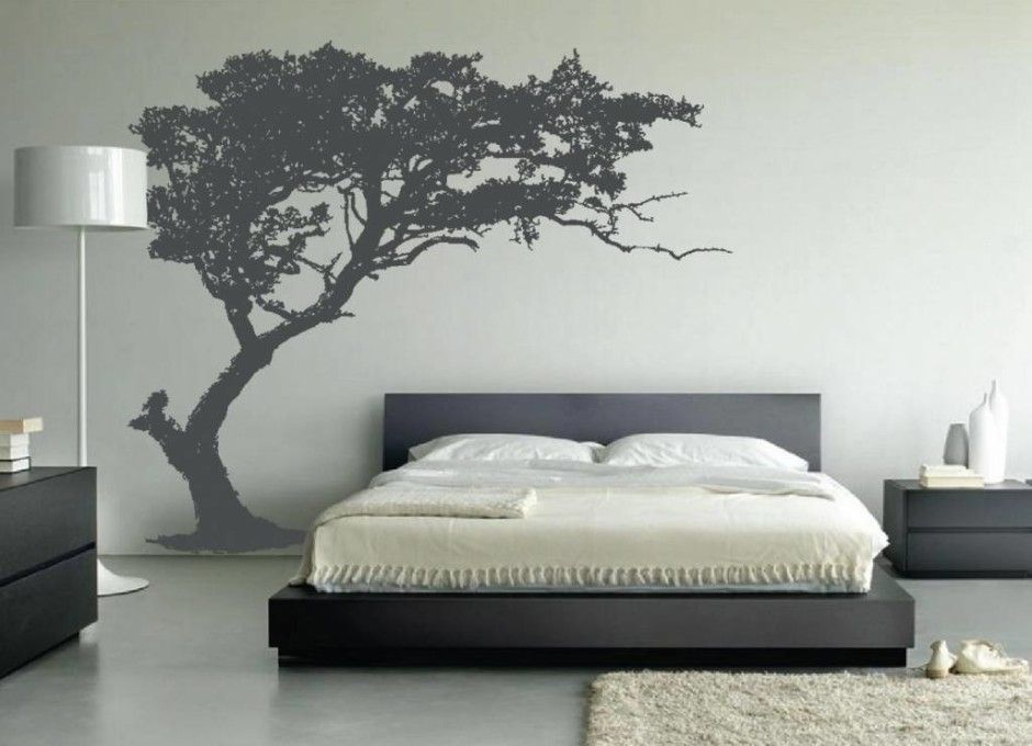 Cool black and white wall decor ideas for bedroom with white wall also tree  wall decal