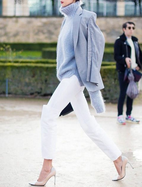 Proof You Can Wear White Jeans in Winter | The winter, Grey and ...